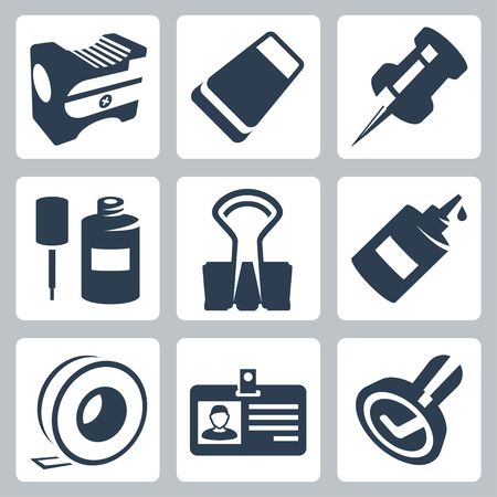 pencil sharpener: Vector office stationery icons set: pencil sharpener, eraser, push pin, correction fluid, clip, glue, sticky tape, identity tag, stamp