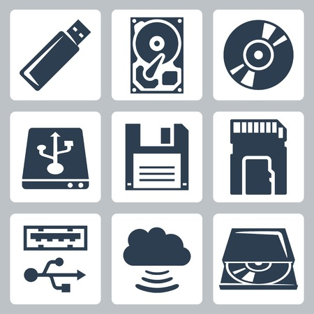 disco duro: Iconos de almacenamiento de datos de vector definido Vectores