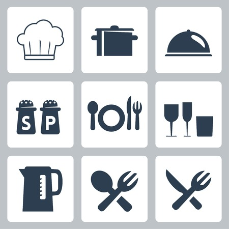 salt shaker: Vector isolated tableware icons set
