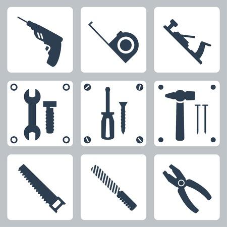 huincha de medir: Vector herramientas aisladas iconos conjunto