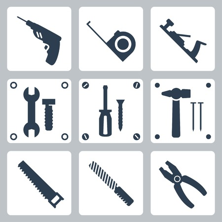 jack plane: Vector isolated tools icons set