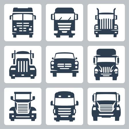 camioneta pick up: Vector aislada camiones conjunto de iconos: vista frontal Vectores