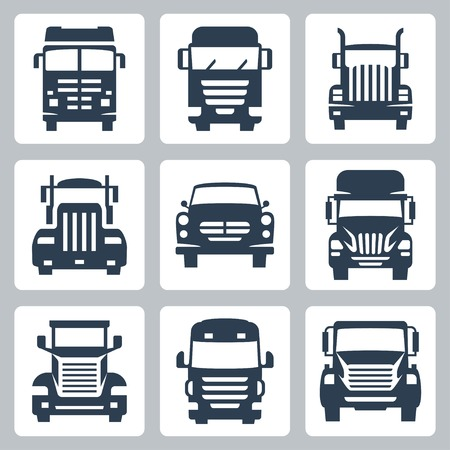 trailer truck: Vector isolated trucks icons set: front view