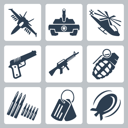 a tank: Vector isolated war icons set