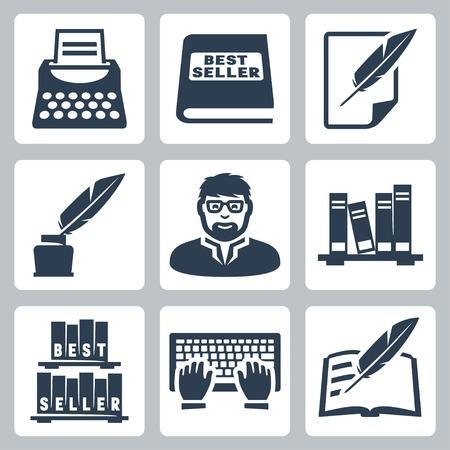 Vector schrijver iconen set: schrijfmachine, bestseller, veer, leeg, inktpot, schrijver, boeken, typen, schrijven