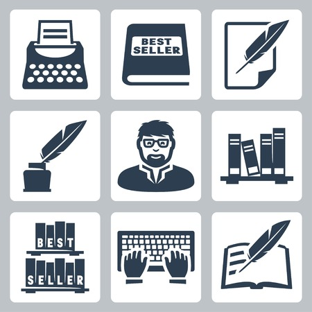 typewriter: Vector writer icons set: typewriter, bestseller, feather, blank, inkpot, writer, books, typing, writing