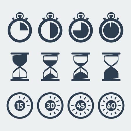 cronometro: Vector aislados iconos temporizadores establecidos Vectores