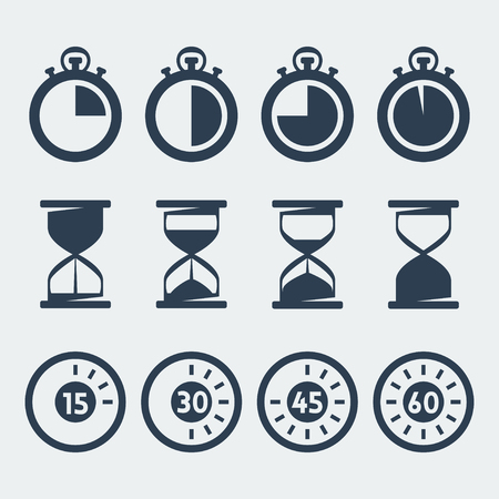stopwatch: Vector isolated timers icons set