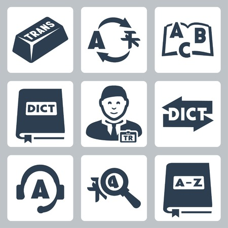 interpretation: Vector translation and dictionary icons set