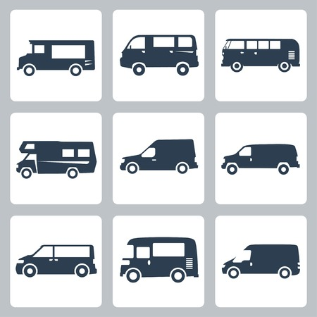 delivery truck: Vector vans (side view) icons set Illustration
