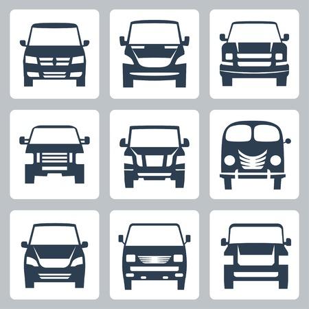family van: Vector vans (front view) icons set