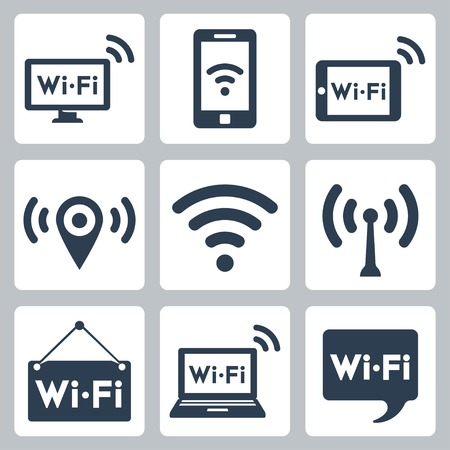 pc: Vector wifi icons set: pc, smartphone, tablet pc, pointer, hotspot, signboard, laptop, speech bubble
