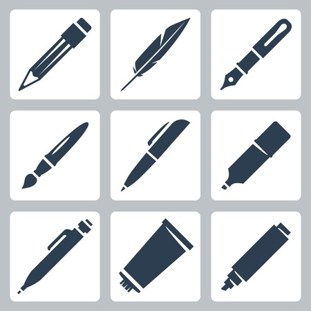writing instrument: Vector writing and painting tools icons set: pencil, feather, fountain pen, brush, pen, marker, mechanical pencil, tube of paint