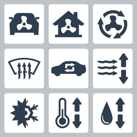 defrost: Vector air conditioning icons set