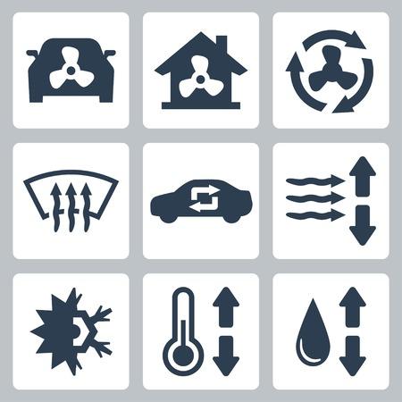 sistemas: Vector de aire acondicionado iconos conjunto