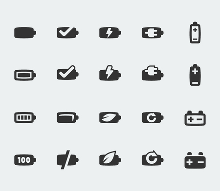 cell charger: Vector battery mini icons set Illustration