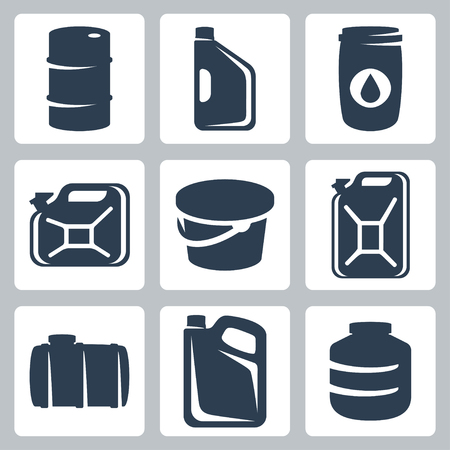 oiling: Vector cans and barrels icons set