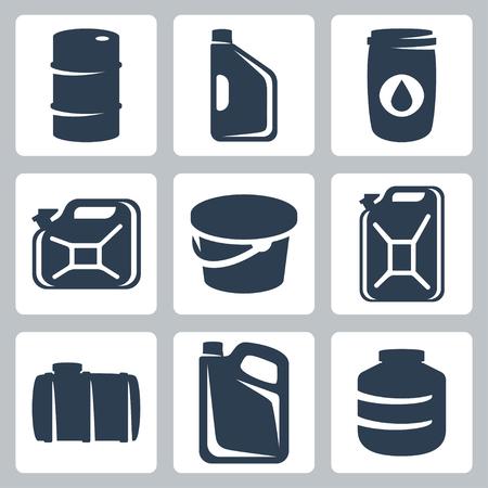 petrol can: Vector cans and barrels icons set
