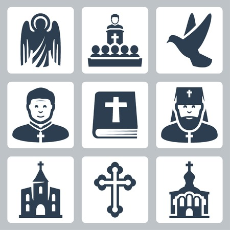 the catholic church: Vector Christian religion icons set Illustration