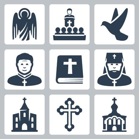 sacerdote: Vector iconos cristianos religi�n establecidos