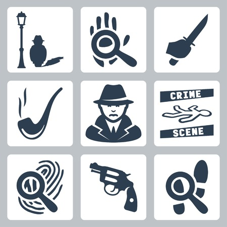 crime scene: Iconos detectives Conjunto de vectores: el hombre debajo de la lámpara de la calle, la lupa y huella de la mano, cuchillo en mano, pipa que fuma, detective, escena del crimen, lupa y huellas dactilares, revólver, lupa y huellas