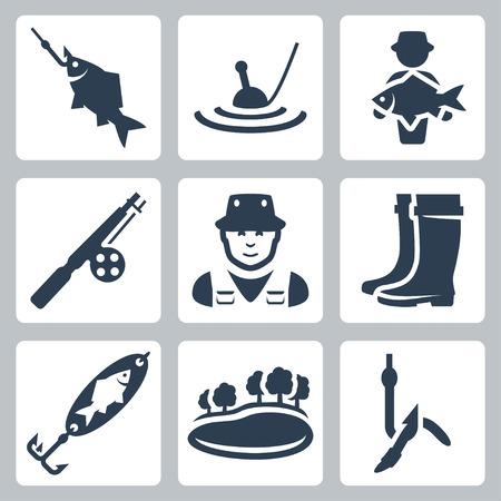 pescador: Iconos pesca del vector fijadas: pez en el anzuelo, flotador, pescados grandes, barra de pesca, pescador, botas de vadeo, cuchara-cebo, lago, gusano en un anzuelo