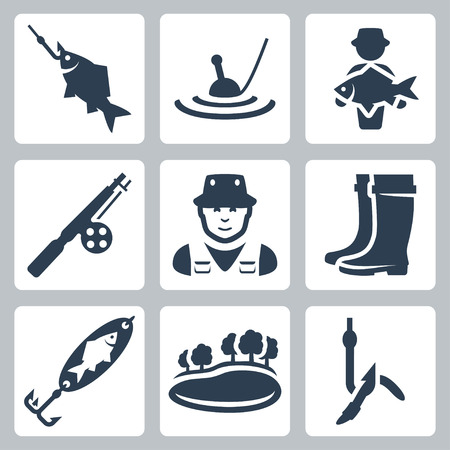 wade: Vector fishing icons set: fish on a hook, float, big fish, fishing rod, fisherman, wading boots, spoon-bait, lake, worm on a hook Illustration