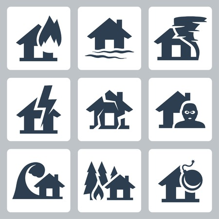 home destruction: Vector property insurance icons set