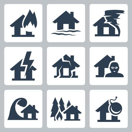 catastrophe: Vectorielle assurance de biens ic�nes ensemble Illustration