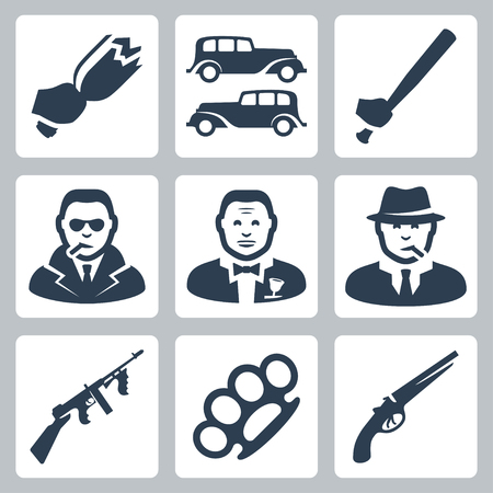 Vector isolated mafia icons set Vector