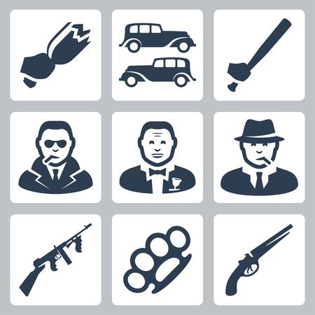 mafia: Vector isolated mafia icons set