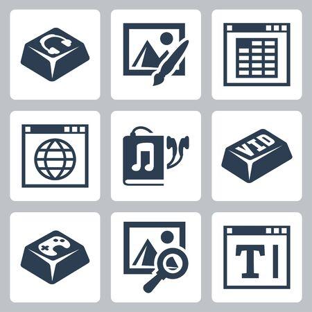 programme: Aplicaciones aisladas de vectores iconos conjunto: reproductor de audio, editor de im�genes, la aplicaci�n de hoja de c�lculo, navegador de Internet, audiolibro, v�deo, juegos, navegador de im�genes, editor de texto