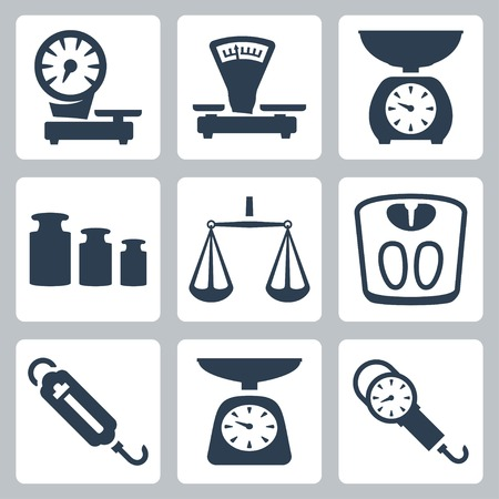 heavy: Vector isolated scales, balance icons set