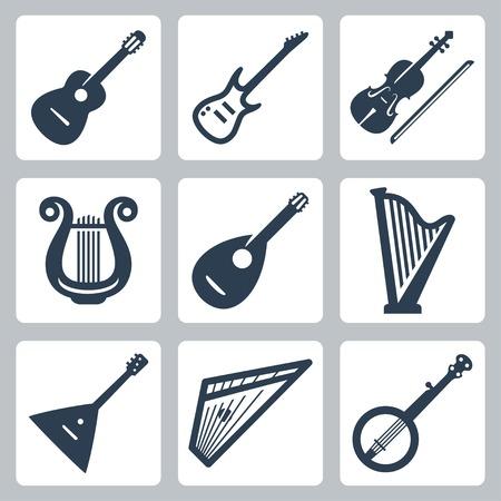 arpa: Vector de instrumentos musicales: cuerdas Vectores
