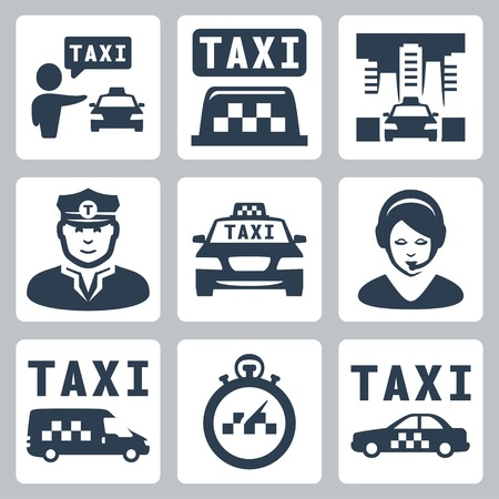 private public: Vector isolated taxi icons set