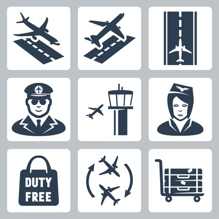 takeoff: Vector airport icons set: landing, takeoff, runway, pilot, airfield control tower,  stewardess, shopping bag duty free, transfer, luggage cart