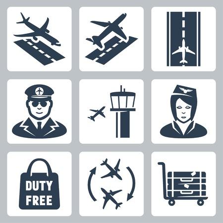 Vector luchthaven iconen set: landen, start, start-en landingsbaan, piloot, vliegveld verkeerstoren, stewardess, boodschappentas 'duty free', overdracht, bagagekarretje