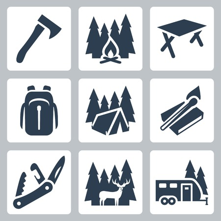 swiss: Vector camping icons set: axe, campfire, camping table, backpack, tent, matches, folding knife, deer, camping trailer
