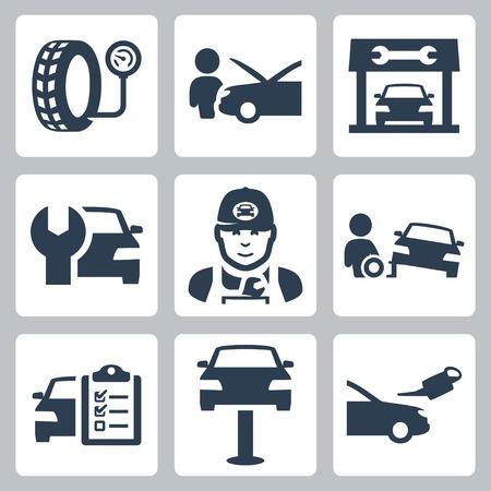 mantenimiento: Vector de servicio del veh�culo iconos de estaci�n establecidos Vectores