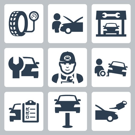 tire fitting: Vector vehicle service station icons set