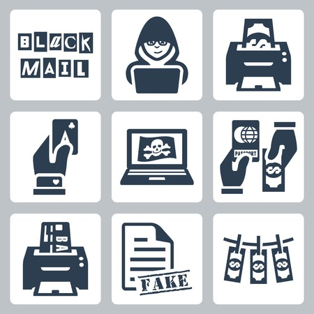 laundering: Vector criminal activity icons set: blackmail, hacking, counterfeiting, cardsharping, piracy, passport forgery, skimming, forgery of documents, money laundering Illustration