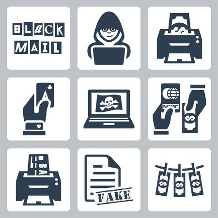 skimming: Vector iconos de la actividad delictiva que tiene: el chantaje, la pirater�a, la falsificaci�n, fuller�a, la pirater�a, la falsificaci�n de pasaportes, rozando, falsificaci�n de documentos, blanqueo de capitales
