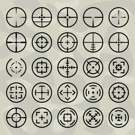 military background: Vector isolated crosshairs set on military background Illustration