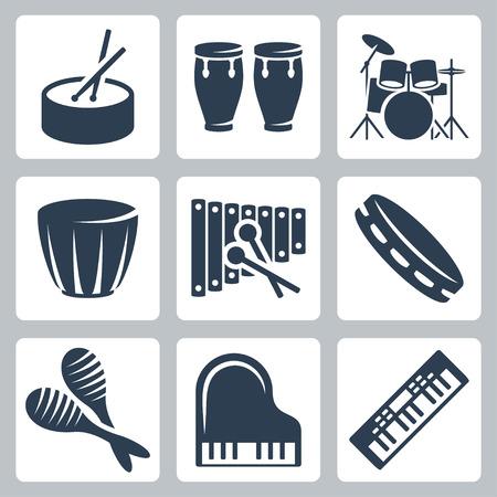 ベクターの音楽 istruments: ドラムとキーボード  イラスト・ベクター素材