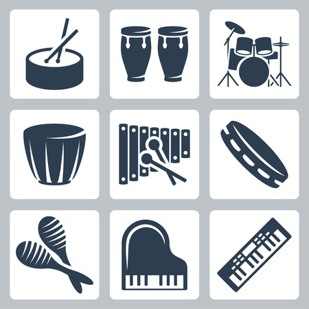 Vector musical istruments: drums and keyboards