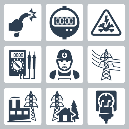 Vector energie-industrie iconen set: blote draad, verbruiksmeter, gevaar teken, multimeter, elektricien, power line, energiecentrale, voeding, stekker en stopcontact