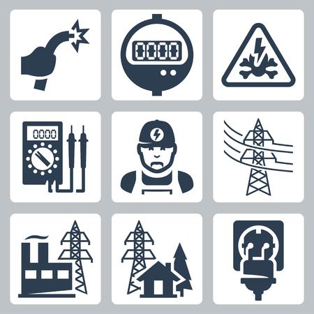 Vector iconos de la industria de la energía fijados: cable desnudo, Contadores de energía, señal de peligro, multímetro, electricista, línea eléctrica, planta de energía, fuente de alimentación, el enchufe y el receptáculo