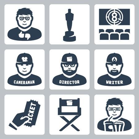 cinematograph: Vector cine y cinematograf�a iconos conjunto: cr�tico, premio, cine, camar�grafo, director, guionista, boleto, la silla del director, espectador Vectores