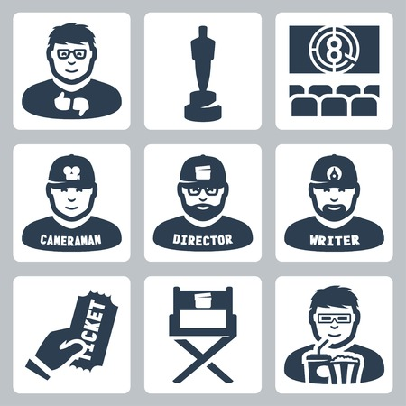 film director: Vector cinema and filmmaking icons set: critic, award, movie theater, cameraman, director, script writer, ticket, director chair, moviegoer Illustration