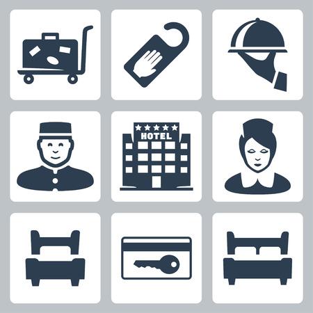 llaves: Hotel iconos conjunto de vectores: el carrito de equipaje, 'no molestar' signo, plato, recepcionista, hotel de cinco estrellas, camarera, una cama individual, con tarjeta, cama doble